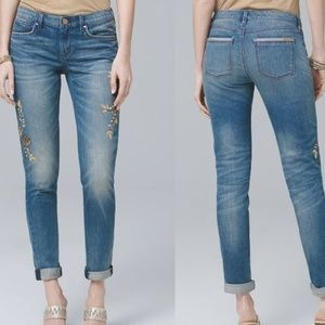 WHBM 00R Embroidered Beaded Girlfriend Jeans NWT
